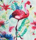 Cotton Shirting Fabric 57\u0022-Aqua Flamingo Tropical