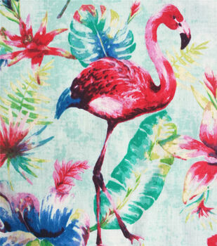 c480e03539 Cotton Shirting Fabric-Flamingoes & Aqua Tropical Leaves