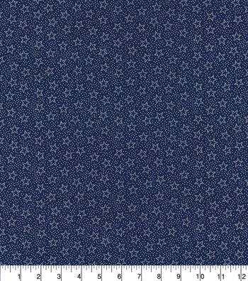 Patriotic Cotton Fabric-Blue Stars and Dots
