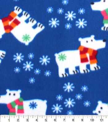 """Blizzard Fleece Fabric 59""""-Polar Bears With Scarfs"""
