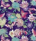 Asian Inspired Cotton Fabric 43\u0027\u0027-Metallic Butterfly & Floral