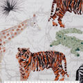 Novelty Cotton Fabric-Painted Safari on Map
