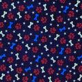 Patriotic Cotton Fabric-Dog Paws & Bones