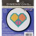 Dimensions Learn-A-Craft 3\u0027\u0027 Round Counted Cross Stitch Kit-Peace & Love