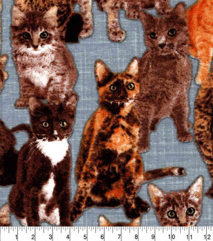 Snuggle Flannel Fabric-Cats on Gray