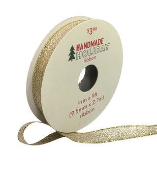 Handmade Holiday Christmas Lame Ribbon 3/8''x9'-Gold
