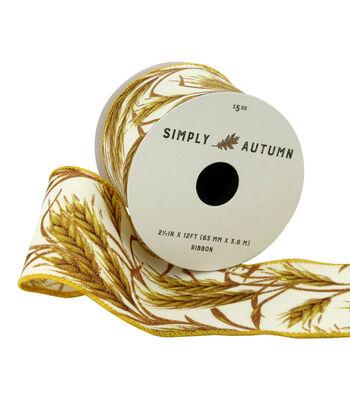 Simply Autumn Ribbon 2.5''x12'-Wheat on Ivory