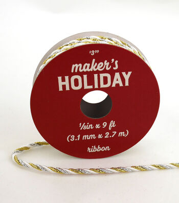 Maker's Holiday Twist Cord Ribbon 1/8''x9'-White, Gold & Silver