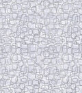Keepsake Calico Cotton Fabric-Silver Foil Shapes on White