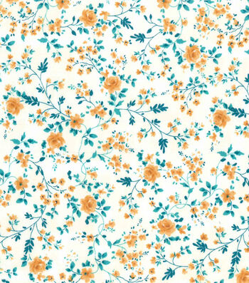 Premium Prints Cotton Fabric-Vines with Yellow Roses