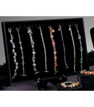 Darice Velvet Jewelry Display Tray With Hooks Black