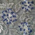 Embellished Mesh Fabric-Metallic Blue & Silver