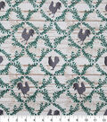 Christmas Cotton Fabric-Holiday Rooster on Wood