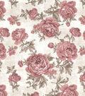 Vintage Cotton Fabric 43\u0027\u0027-Pink Large Floral on Ivory