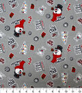 Christmas Frosty the Snowman Flannel Fabric-Tossed on Gray