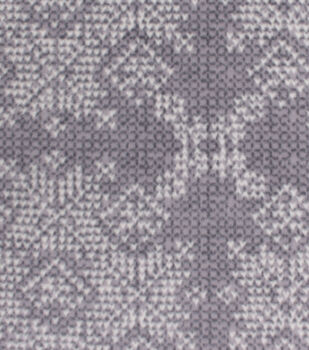 Christmas Anti-Pill Plush Fleece Fabric-Ivory Snowflakes on Vail Gray