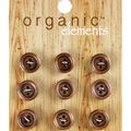 Organic Elements 9 pk 0.5\u0027\u0027 Wooden Round Buttons-Light Brown