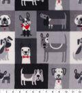 Anti-Pill Plush Fleece Fabric-Puppy Patch Gray