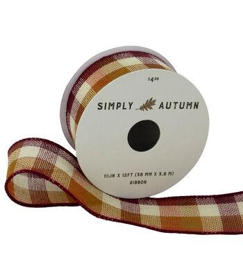 Simply Autumn Ribbon 1.5''x12'-Burgundy & Orange Fall Plaid
