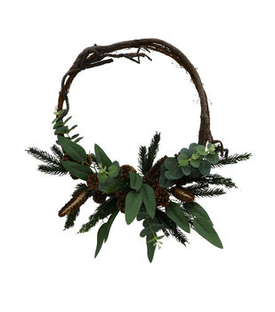Handmade Holiday Christmas 24'' Primitive Greenery Wreath