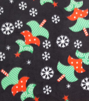 makers holiday fleece fabric 59 tossed trees