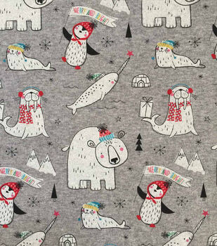 """Doodles Christmas Cotton Fabric 57""""-Norwall & Friends On Gray"""