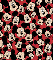 Disney Mickey Mouse Fleece Fabric 59''-Tossed Mickey Heads, , hi-res