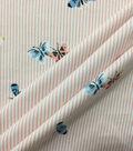 Doodles Cotton Spandex Interlock Fabric-Peach White Stripe Butterfly