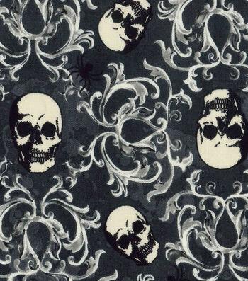 "Halloween Cotton Fabric 43""-Skull Damask"