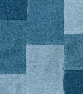 """Fashion Bottomweight Fabric 44""""-Light Wash Patchwork Denim"""