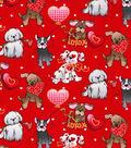 Valentine\u0027s Day Glitter Cotton Fabric-Love Pups on Red