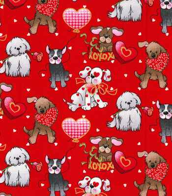 "Valentine's Day Cotton Fabric 44""-Love Pups Red Glitter"
