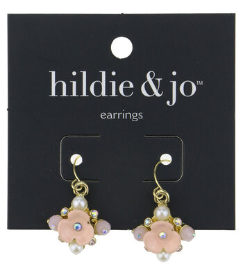 hildie & jo Pink Flower Gold Earrings-Pearls, Beads & Crystals