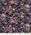 Asian Inspired Cotton Fabric -Small Floral Blue Metallic