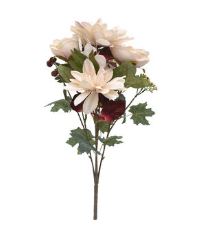 Blooming Autumn 20'' Dahlia & Rose Bush-Cream