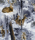 Snuggle Flannel Fabric-Realistic Deer in Snow