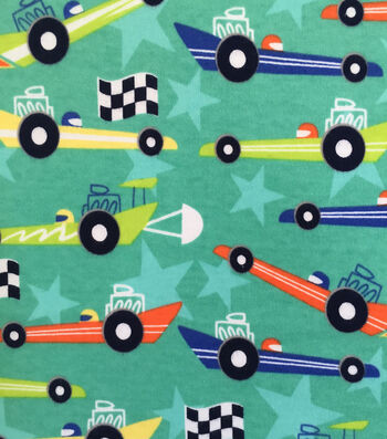 Doodles Juvenile Apparel Fabric 57''-Race Car Interlock on Teal