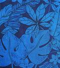 Cotton Shirting Fabric 57\u0022-Navy Blue Leafy Tropical