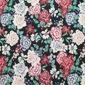 Silky Stretch Satin Textured Fabric-Multi Big Floral on Black