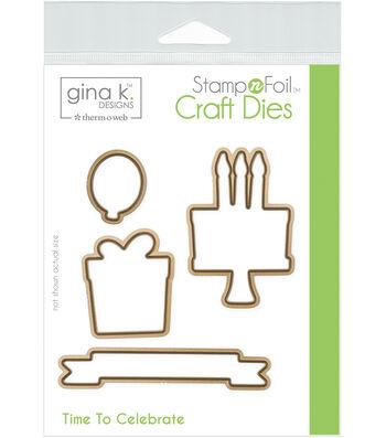 Gina K Designs StampnFoil 4 pk Craft Dies-Time to Celebrate