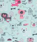 Blizzard Fleece Fabric-Aqua Doggies