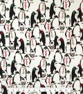 Doodles Christmas Interlock Cotton Fabric 57\u0022-Penguins In Glasses