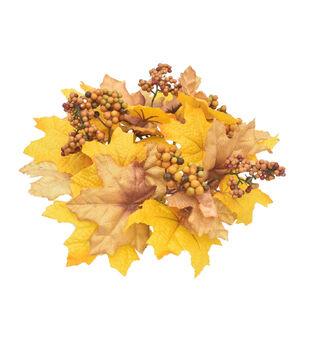 Blooming Autumn Maple Leaf & Berry Mini Wreath-Gold