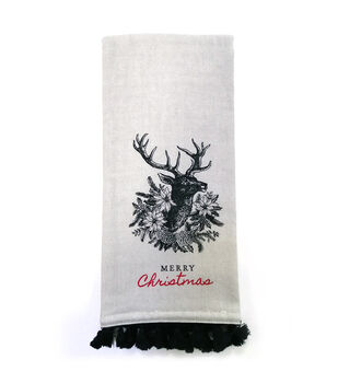 Handmade Holiday 16''x26'' Towel-Reindeer with Wreath & Merry Christmas