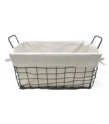 Organizing Essentials 8x8 Wire Basket with Ivory Liner