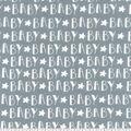 Nursery Flannel Fabric -Grey Baby Words