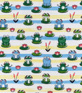 Snuggle Flannel Fabric-Leap Frogs on Stripes