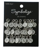 hildie & jo Symbolize 26 Pack Silver Charms-Black/White Alphabet, , hi-res