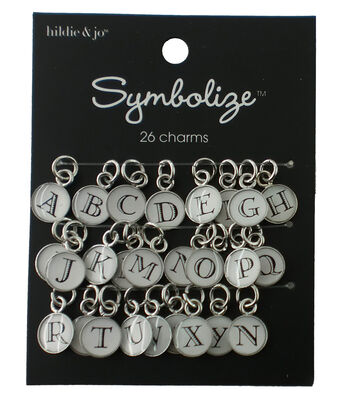 hildie & jo Symbolize 26 Pack Silver Charms-Black/White Alphabet