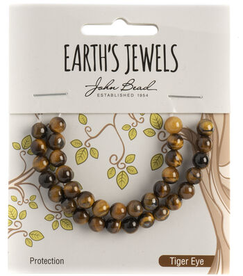 Earth's Jewels Semi-Precious Round 6mm Beads-Tiger Eye Natural